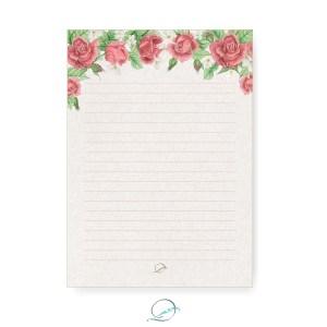 kit presente papelaria 1 - apresentação - papel de carta padrão estampa floral rosas