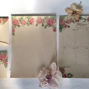 kit presente papelaria 1 - floral rosa - papel de carta folhas avulsas