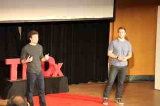 Quenton Richards (left) and Luck Romick (right) give their TED Talk on Pierre Bourdieu's theory of Cultural Capital.
