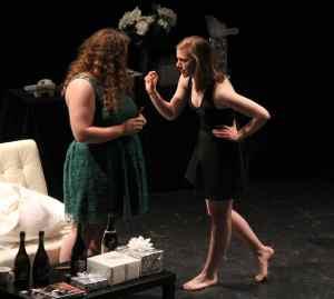 Erin Katalinic '16 and Nia D'Emilio '16 in Bachelorette.