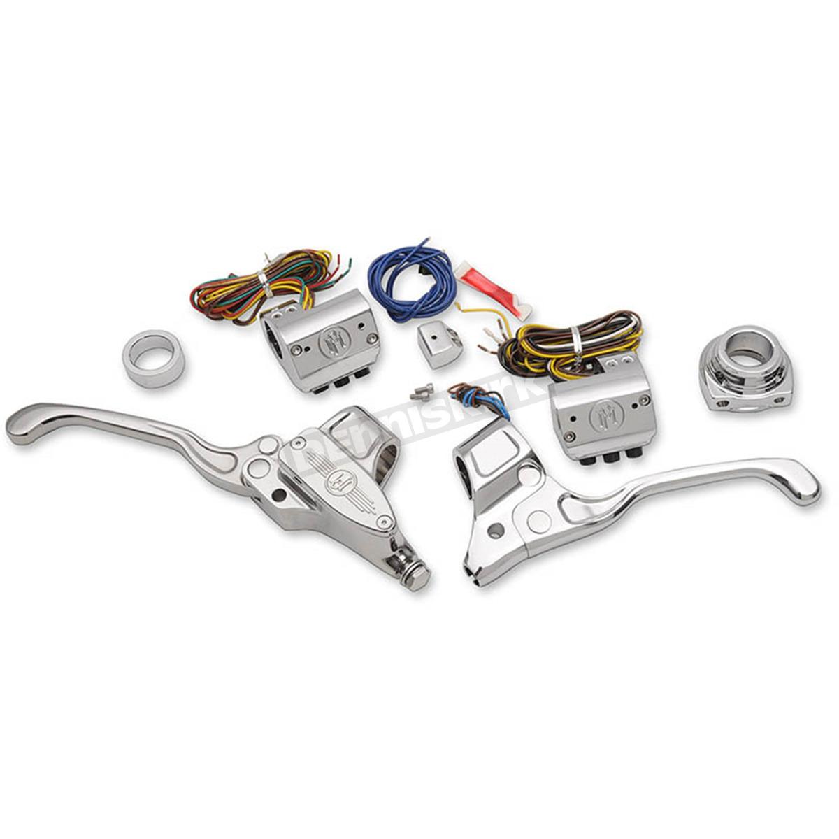 Performance Machine Chrome Handlebar Control Kit W Cable Clutch