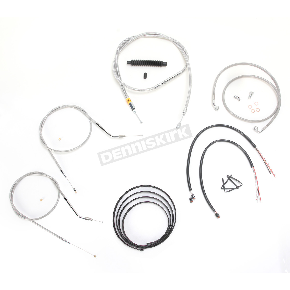 La Choppers Stainless Braided Handlebar Cable And Brake Line Kit For Use W Mini Ape Hangers
