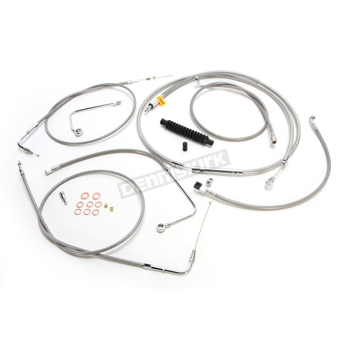 La Choppers Braided Stainless Stainless Handlebar Cable Brake Line Kit W Abs For Use With 12 14