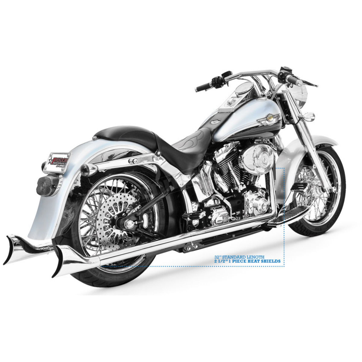 black 36 in true dual sharktail signature exhaust system hd00329