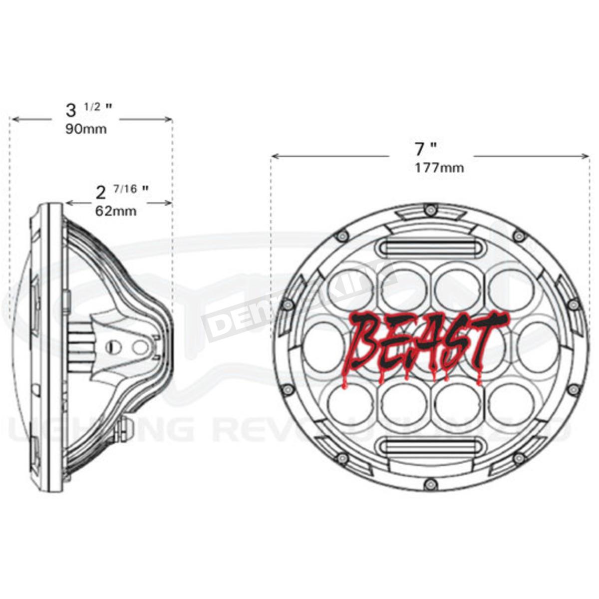 Cyron Black 7 In Beast Led Headlight