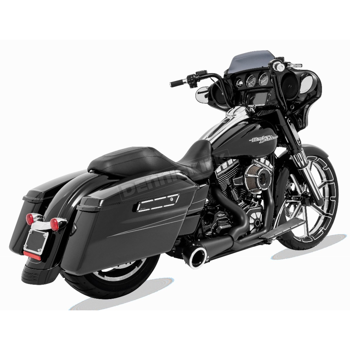 black 2 into 1 turnout exhaust system hd00838