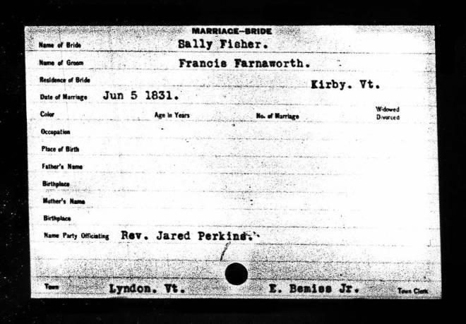 Farnsworth, Francis and Sally, Marriage Card, 1831