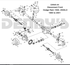DODGE DANA 44 DISCONNECT  Front axle parts for 94 to 02