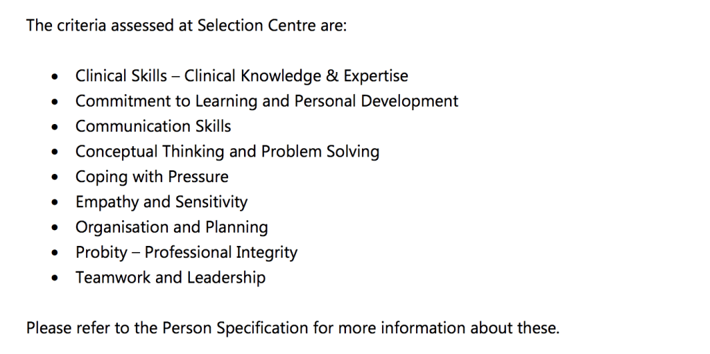 Criteria assessed at Interview - as per COPDEND Application Guide