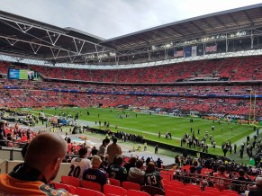 Broncos fan Dave Robertson with a great view at Wembley