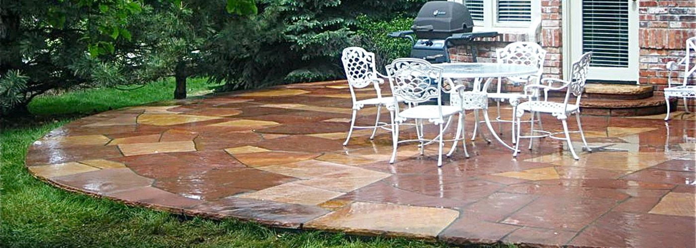 Red And White Buffed Flagstone Patio BB