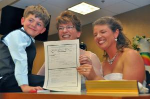 civil union license with Jeremy smiling by Ernest Luning