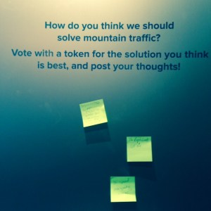 The exhibit pushes you to consider some of our big questions. If posting notes and token votes are not your thing there are also LEGO challenges at the end to build solutions.