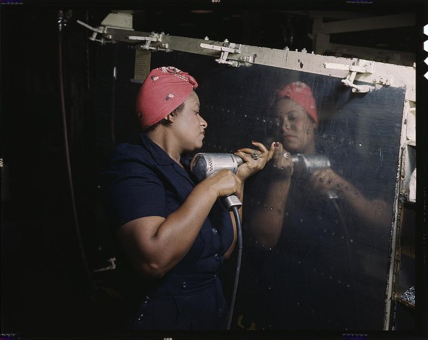 "Woman is working on a ""Vengeance"" dive bomber Tennessee, February 1943. Reproduction from color slide. Prints and Photographs Division, Library of Congress"