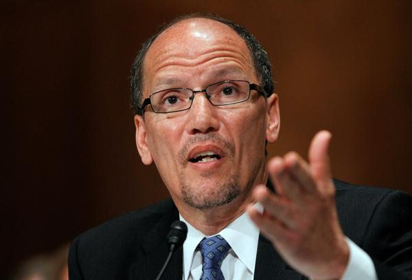 In this file photo, Thomas Perez testifies on Capitol Hill in Washington before the Senate Health, Education, Labor and Pensions Committee hearing on his nomination as Labor Secretary on April 18, 2013.