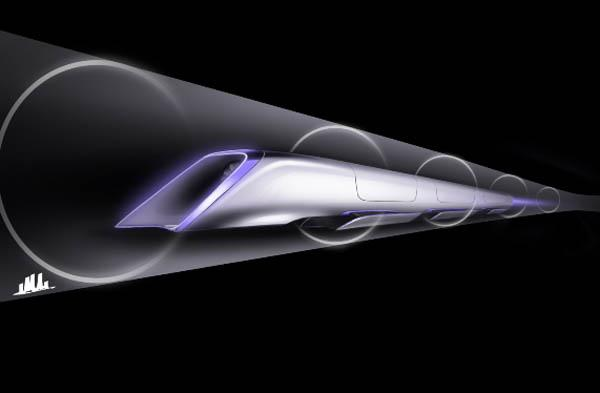 A conceptual design rendering of a Hyperloop passenger transport capsule.