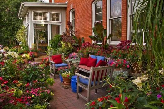 patio with abundant container garden