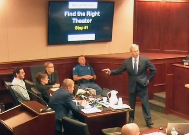 In this image taken from video, accused Colorado theater shooter James Holmes, left, listens to lead prosecutor George Brauchler give closing arguments during his trial, in Centennial on July 14, 2015. Brauchler had sought the death penalty in the case; Holmes was sentenced to life in prison.