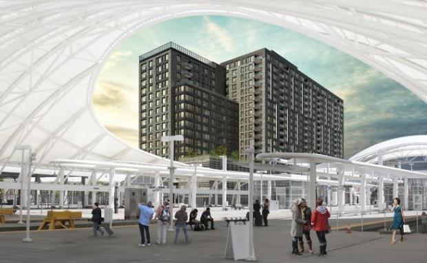 A rendering of The Coloradan, a 19-story, 342-unit condominium tower under construction at 1750 Wewatta St. in the Union Station neighborhood.