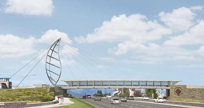 Fentress Architects' rendering of the new Lone Tree Pedestrian Bridge. The signature leaf and the main span will be fabricated off-site and assembled on location.
