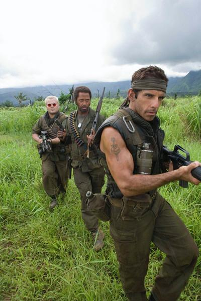 "In the action comedy ""Tropic Thunder,"" a group of actors shooting a war movie is led by Tugg Speedman (Ben Stiller), a pampered action superstar, Kirk Lazarus (Robert Downey Jr.), an over-the-top Australian-born method actor who has gone to extremes to get into character, and Jeff Portnoy (Jack Black), a gross-out comedy star."