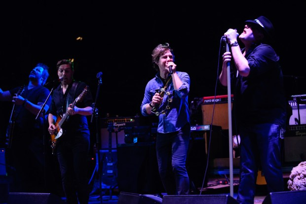 """Isaac Hanson, Taylor Hanson, and John Popper at Red Rocks, July 4, 2015."" (Photo by Candace Horgan/ Special to the Denver Post)"