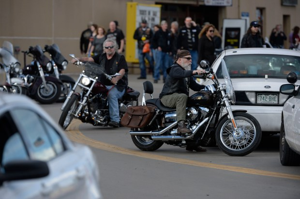 Motorcycle riders leave the National Western Stock Show Complex Jan. 30, 2016.