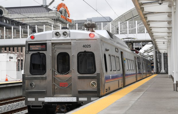 One of the new RTD FasTracks trains that will travel from Denver's Union Station to the Denver International Airport. This University of Colorado A Line opened to the public on April 22.