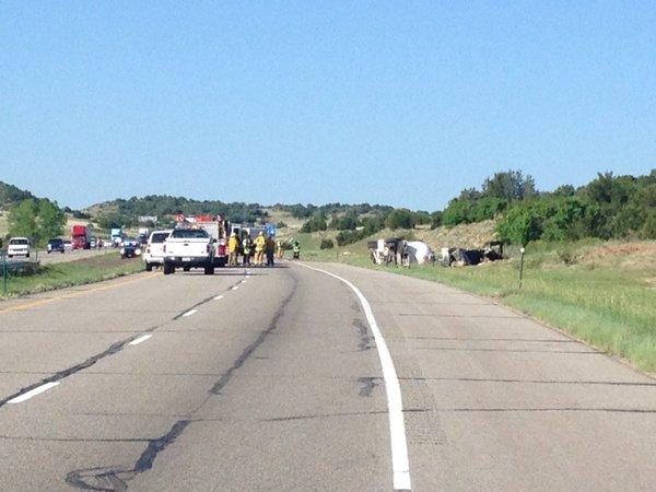 I-25 semi-trailer crash in Pueblo County. Image provided by Colorado State Patrol.