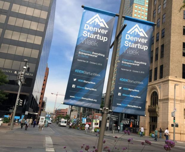 Denver Startup Week banners hang downtown.