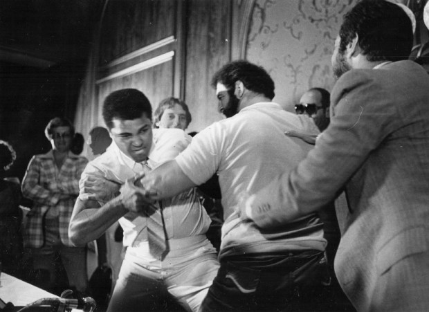 Muhammad Ali and Lyle Alzado promote their Exhibition fight. 1979. Credit: Denver Post