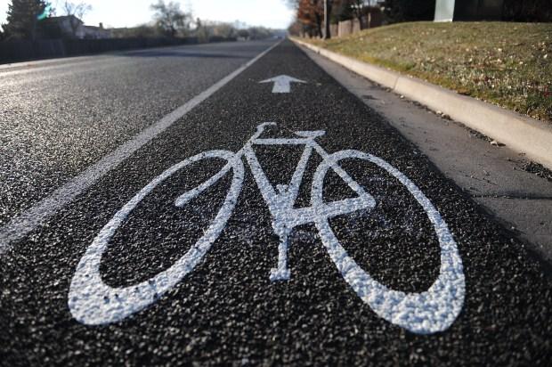 A bike lane in Colorado.