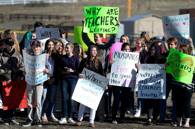 Ponderosa High School students staged a walkout to protest what they say is a high teacher turnover caused by poor education policies by the Douglas County School District on March 9, 2016.