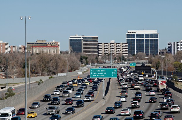 Traffic on Interstate 25 near Colorado Boulevard in March.