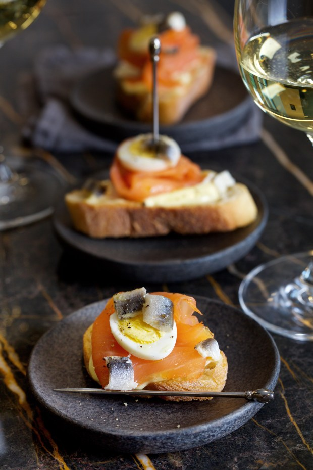 Above are smoked salmon and quail eggs, which were inspired by pinchos in San Sebastian, located in Spain's mountainous Basque Country.