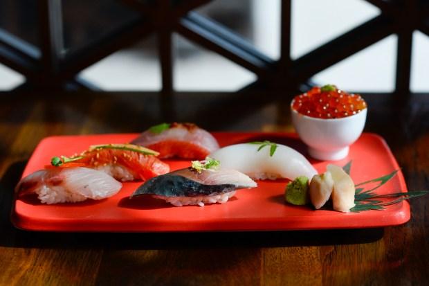 A selection of sushi at Matsuhisa.