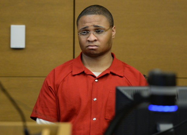 DENVER, CO - SEPTEMBER 30: Defendant Dexter Lewis was in court for his sentencing hearing, in Denver District Court, September 30, 2015. Convicted of stabbing five people to death during a Denver bar robbery that netted $170, Lewis received five life sentences plus 180 years for Fero's Bar murders. (Photo by RJ Sangosti/The Denver Post)