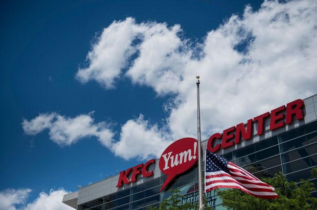 A view of the U.S. flag at half staff in front of the KFC Yum!Center June 7, where a memorial service for boxing legend Muhammad Ali was held on June 10 in Louisville, Kentucky.