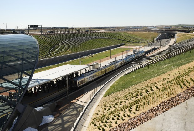 The University of Colorado A Line train is parked at the station at Denver International Airport, April 22. The line is 23 miles with eight stations along the way.