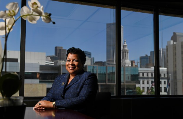 DENVER, CO - MAY 18: Stephanie O'Malley is executive director of safety in Denver's Department of Public Safety. O'Malley was at her office which is located in the building for the Denver Police Department headquarters on Wednesday, May 18, 2016. (Photo by Cyrus McCrimmon/The Denver Post )