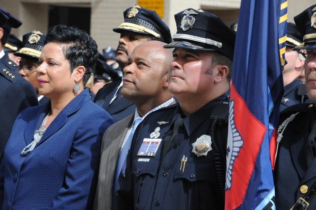 DENVER, CO. - MAY 14: Executive Director of Safety Stephanie O'Malley, Mayor Michael Hancock and Sergeant Anthony Martinez prior to the Denver Police Department Memorial service held at the memorial to fallen officers Thursday, May 14, 2015. (Photo By Steve Nehf / The Denver Post)