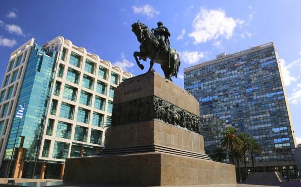 A statue of national hero Gen. Jose Gervasio Artigas adorns the Plaza Independencia in Montevideo.