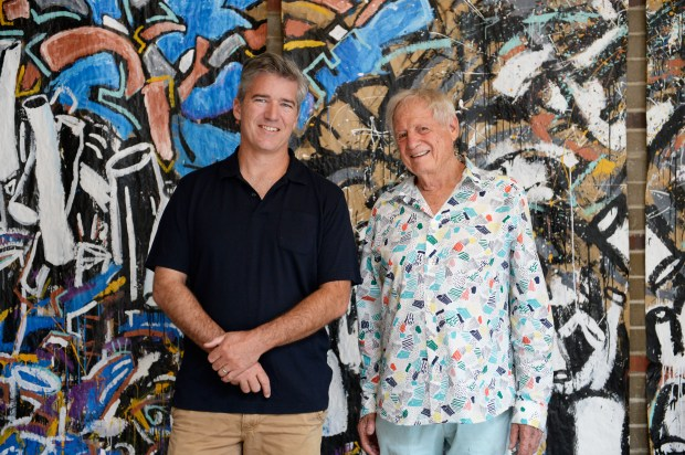 DENVER, CO - JUNE 23: Owners Neil Adam, left, and Mickey Zeppelin pose for a photograph in the gallery space at GRACe on June 23, 2016, in Denver, Colorado. The Globeville Riverfront Art Center (GRACe) offers artists and creative businesses, both emerging and established, a dedicated studio space. Currently over 50 tenants rent studios at the center, with 80-85 studios available overall. (Photo by Anya Semenoff/The Denver Post)