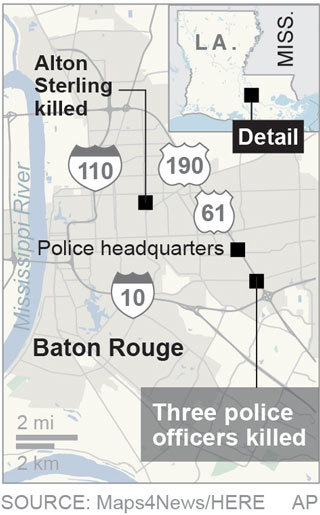 Map locates where three police officers were shot in Baton Rouge, La.; 1c x 3 inches; 46.5 mm x 76 mm;