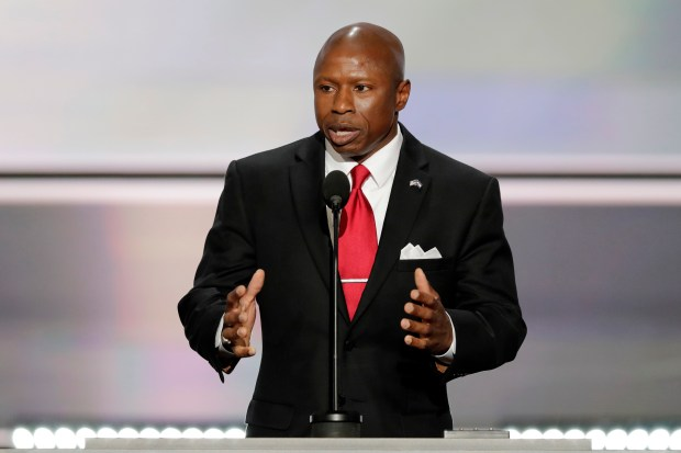 Darryl Glenn, Republican candidate for U.S. Senate from Colorado, speaks during the opening day of the Republican National Convention in Cleveland on July 18.
