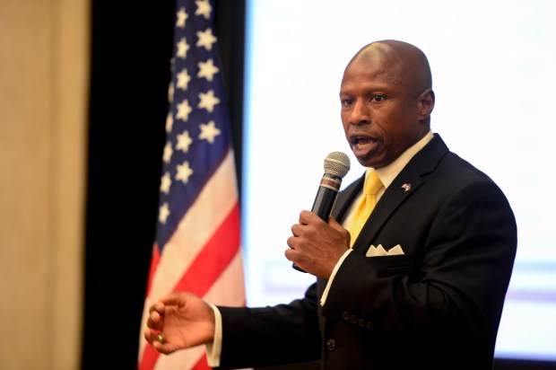 Republican candidate Darryl Glenn speaks after winning the 2016 primary for U.S. Senate on Tuesday.