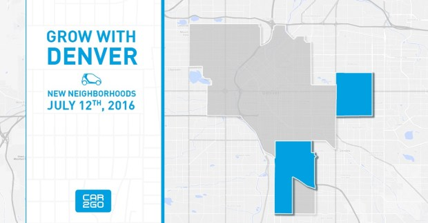 Car2Go Denver is sending this image to members on Tuesday, July 12, 2016, showing newly restored neighborhoods in its home service area.