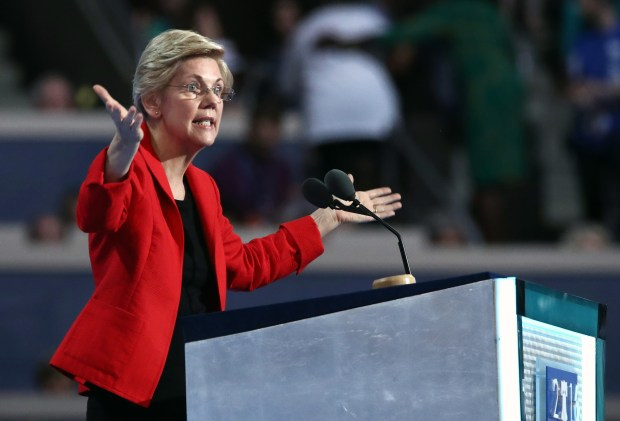 Sen. Elizabeth Warren, D-Mass., speaks Monday night at the Democratic National Convention in Philadelphia.