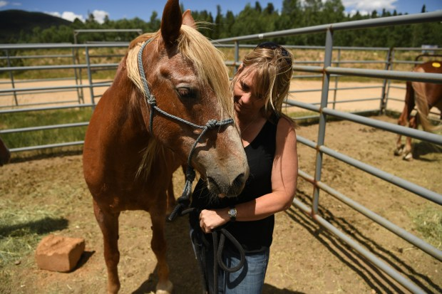 NEDERLAND, CO - JULY 11: Pam Harrington stands with her horse at the Gilpin County Fairgrounds where animals have been evacuated due to the Cold Springs Fire, July 11, 2016. On Saturday afternoon, Harrington looked up to see blaze was moving close. After getting her 5-year-old daughter a safe ride in a vehicle headed out of the area, she turned her attention to her horses and rode them and herself to safety (Photo by RJ Sangosti/The Denver Post)