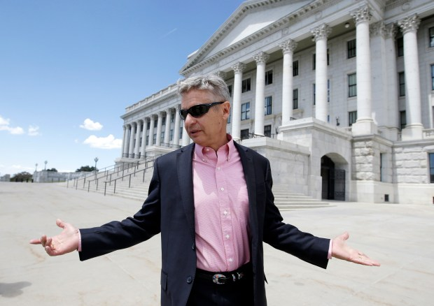 Libertarian presidential candidate Gary Johnson, a former New Mexico governor, leaves the Utah State Capitol after meeting with with legislators in Salt Lake City on May 18.